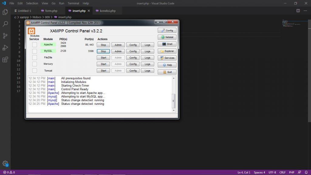 Description: C:\Users\roviqo\Pictures\VSC\Database menggunakan Form\1. Xampp aktif.jpg