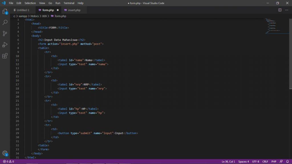 Description: C:\Users\roviqo\Pictures\VSC\Database menggunakan Form\2. Membuat Form PHP.jpg